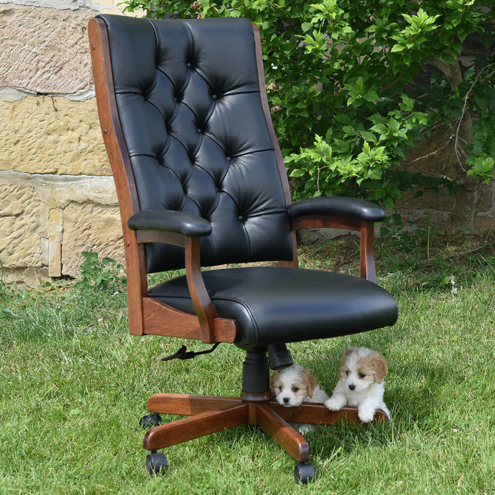 River Woodworking CET59 Clark Executive Chair with Tufting
